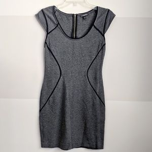 Express gray fitted bodycon dress w/ black pipin